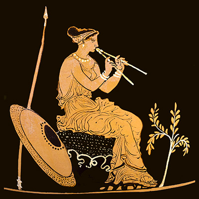 Atena tocando aulos, arte grega do séc. IV a.C.