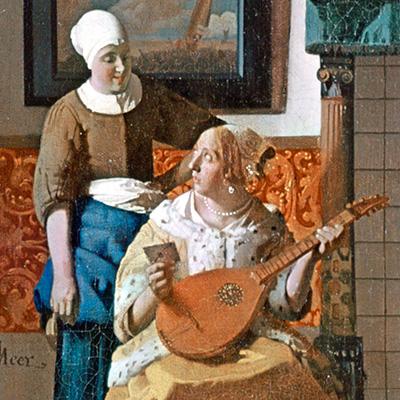 Cittern, A carta de amor, Johannes Vermeer, pormenor