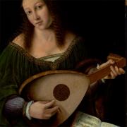 Lute, alaúde, Senhora tocando alaúde, Bartolomeo Veneto (1502-1531)