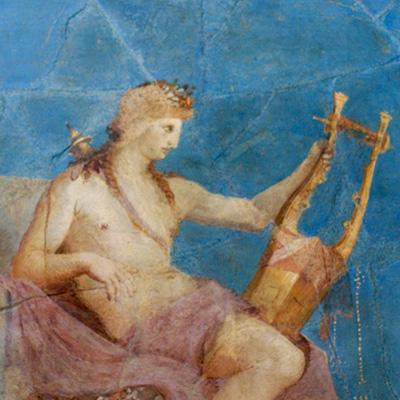 Apolo com a sua lyra, fragmento de cerâmica, Roma, Museu do Monte Palatino