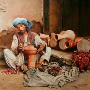 Zirbaghali, Danièle Aviron, O artesão dos zirbaghali, óleo sobre tela