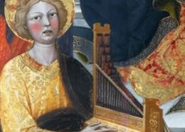 Virgem com Menino e anjos, 1415-23, Álvaro Pires de Évora; madeira, têmpera e folha de ouro; Igreja de Santa Croce in Fossabanda, Pisa.