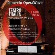 Concerto OperaWave, com árias de ópera e canções clássicas, na comemoração dos 200 anos do Teatro Thalia