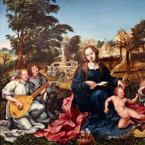 A Virgem, o Menino e Anjos, Gregório Lopes, c. 1536 - 1539, Pintura a óleo sobre madeira de carvalho, 125 cm × 167 cm, Museu Nacional de Arte Antiga, Lisboa
