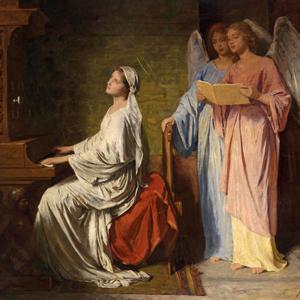 Santa Cecília ao órgão acompanhada por anjos