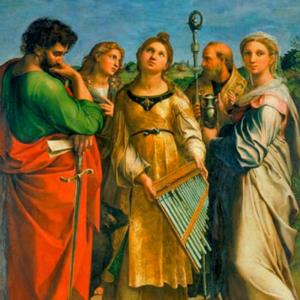 (1516-1517), Êxtase de Santa Cecília, Rafaello Sanzio (1483-1520). Ao centro, Santa Cecilia; à esquerda, São Paulo, à direita, Maria Madalena; Santa Augustina e São João Evangelista, atrás.