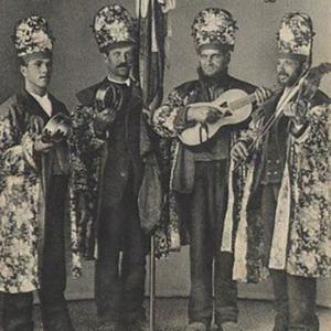 Folia das festas populares do Divino Espírito Santo, Ilha de São Miguel, Açores. postal ilustrado circulado entre 1911 e 1914.