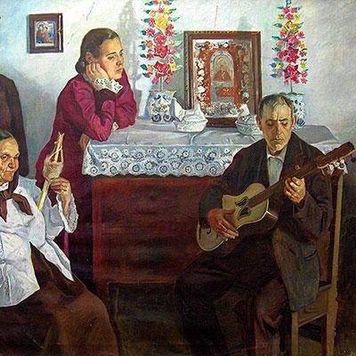 Viola da terra, pintura de Domingos Rebêlo, década de 1930